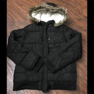 Justice Girl's Black Puffer Coat Sz 12